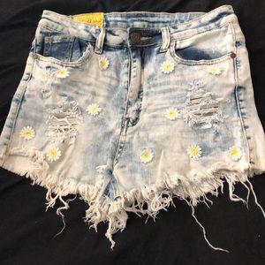 Distressed denim daisy shorts